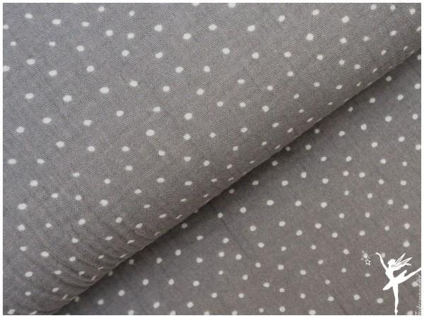 Double Gauze/Musselin Punkte Grau/Weiß