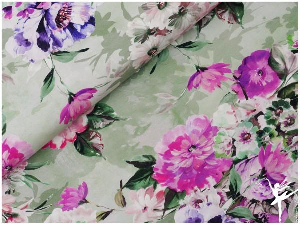 Mandy Digital Jersey Blumenmotiv Lindgrün/Fuchsia