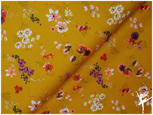 Baumwolle/Webware Blumen Ocker