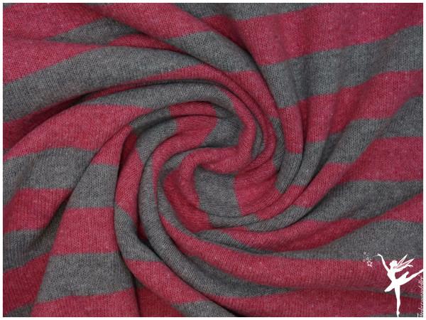 Lenn ITALIEN Ringel Strickstoff - Rosa/Grau