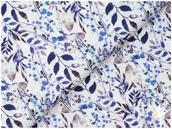 Digital Baumwolle Frühling Pflanzen Blau