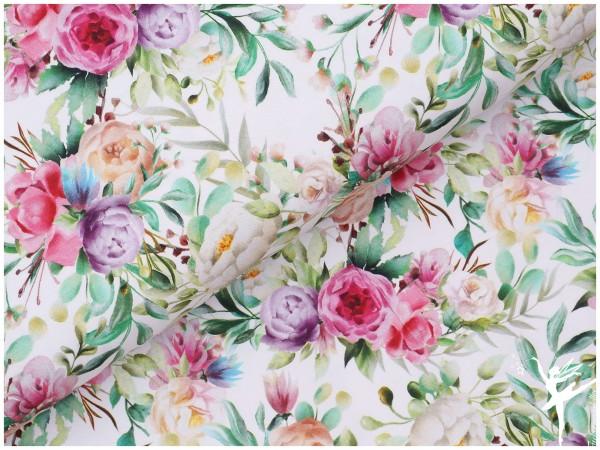 NEU! Digital Jersey Blumen Cream/bunt