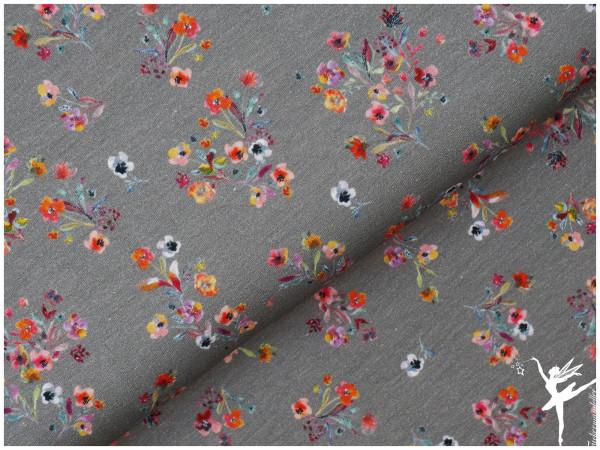 Digital Jersey Sommer-Blumen Grau