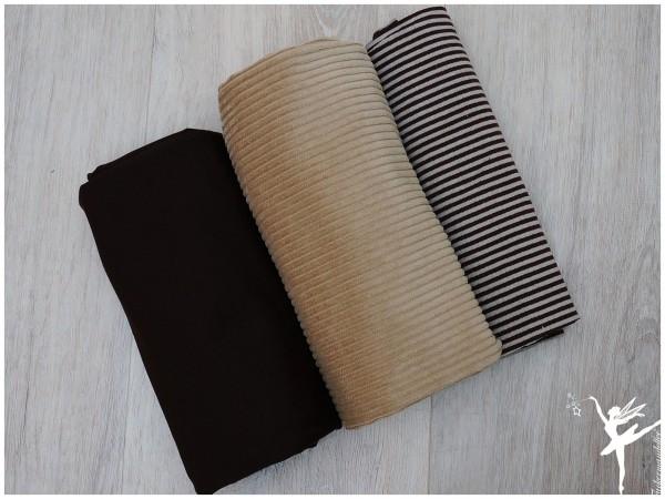Stoffpaket Cord/Sweat Camel/Braun/Ringel