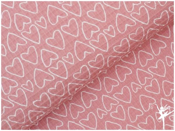 Herz Waffelpiqué Baumwolle Rosa