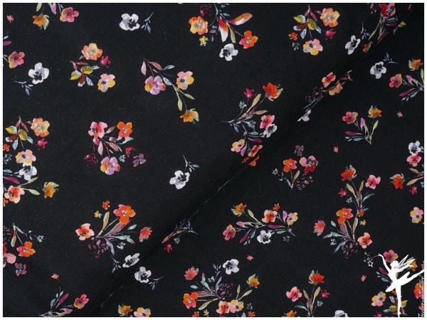 Digital Jersey Sommer-Blumen Schwarz