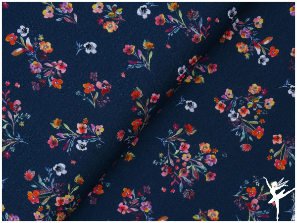 Digital Jersey Sommer-Blumen Blau