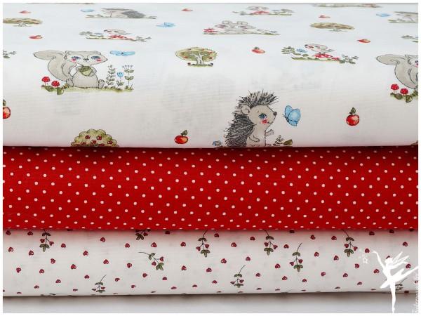 ♥ Stoffpaket 1,5 Meter Waldtiere Weiß/Rot Baumwolle ♥