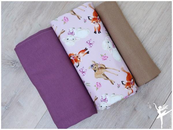 Stoffpaket Sweat/Jersey Süße Tiere Rosa/Taupe/Flieder