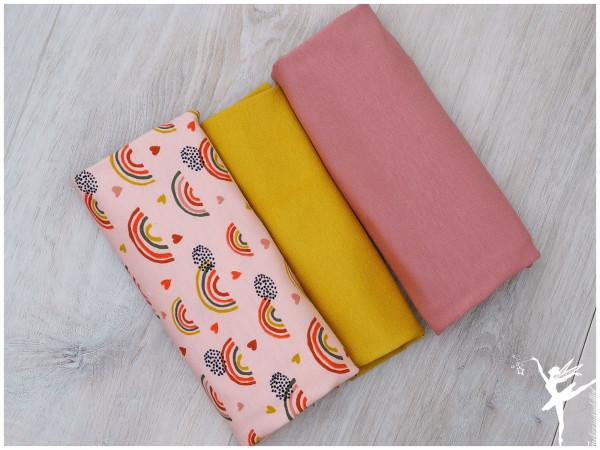 Stoffpaket Jersey Regenbogen Rosa/Senf
