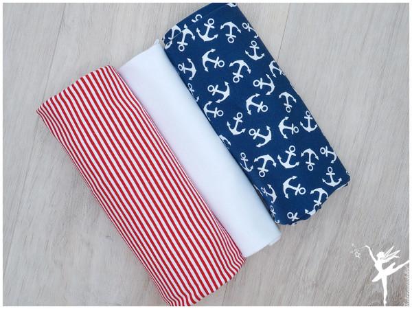 Stoffpaket Jersey Anker/Streifen Rot/Jeansblau