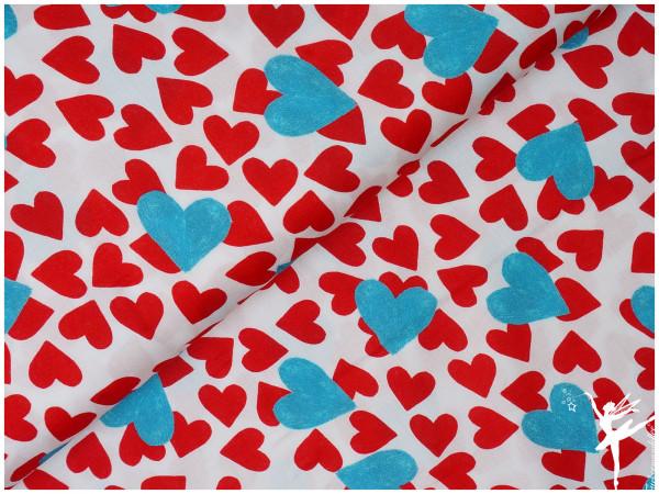 Frieda Viskose Herzen Creme Rot/Blau