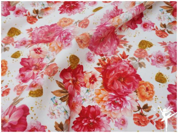 Digital Jersey Flower Weiß/Rosa/Rot (Kombi zu Flower Girl )