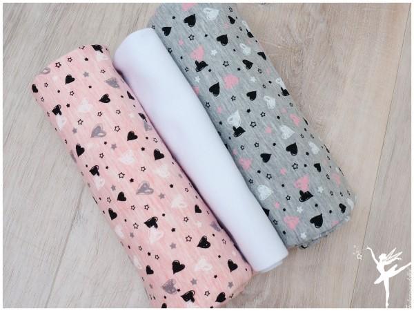 Stoffpaket Jersey Grau/Rosa Herzen
