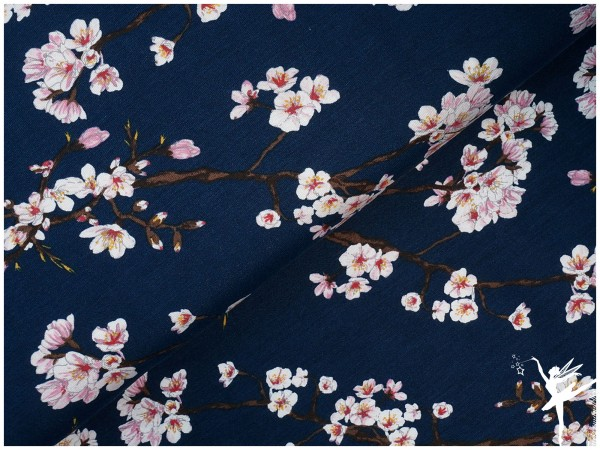 Modal Jersey Kirschblüten Dunkelblau