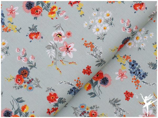 Baumwolle/Webware Blumen Minze