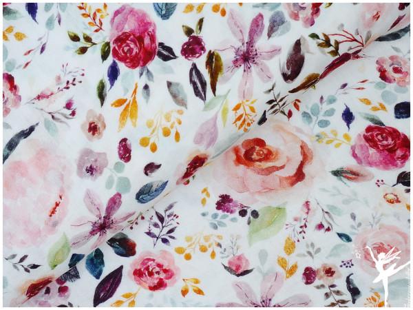 Double Gauze/Musselin Painted Flowers Weiß
