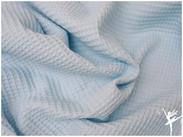 Waffelpiqué Baumwolle Uni Hellblau