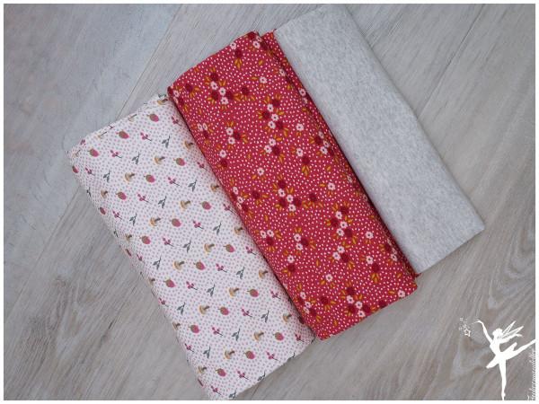 Stoffpaket Jersey Steinbeck Blümchen Pink/Rosa/Beige
