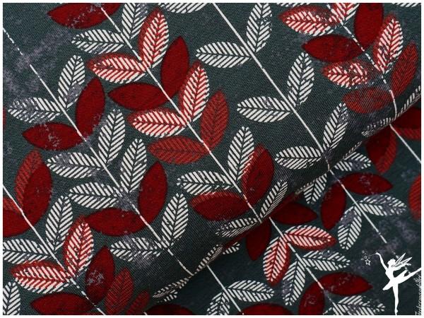 Jersey ♥ Blätter ♥ Grau/Weinrot♥ by Vicente