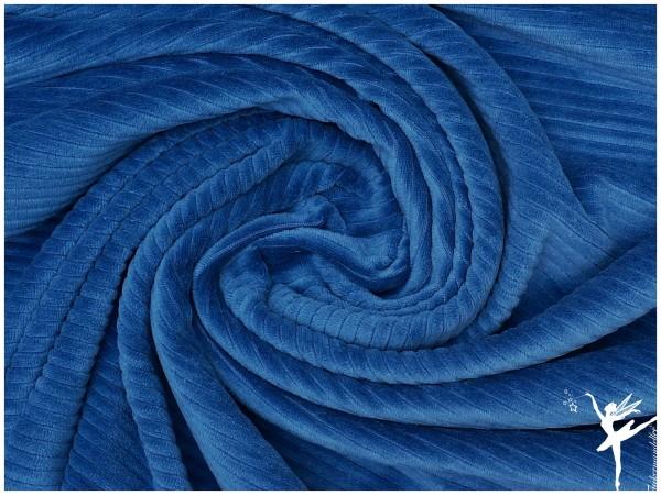 Kuschelweicher Breit Cord Jersey Jeansblau elastisch
