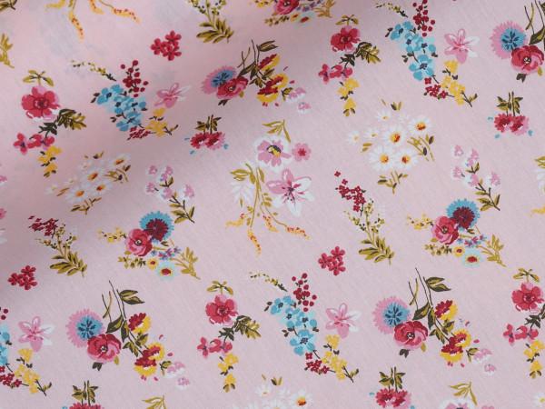 Wachstuch beschichtete Baumwolle Blumen Rosa