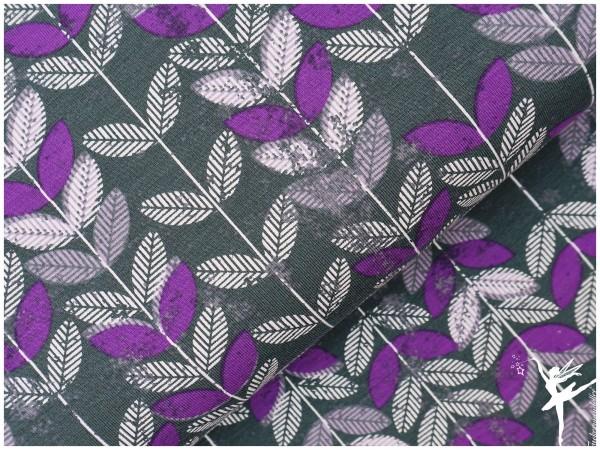 Jersey ♥ Blätter ♥ Grau/Lila♥ by Vicente
