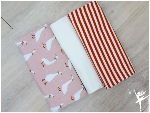 Stoffpaket Jersey Gänse/Ringel Nude/Rost/Creme