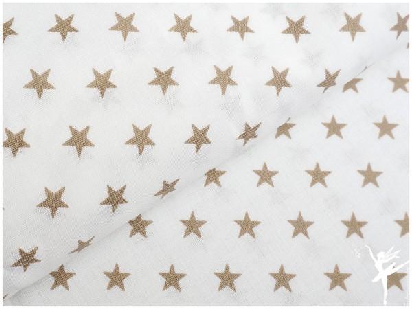 Baumwolle Kleine Sterne Weiß/Beige