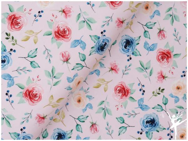 Digital Jersey Blumenmotiv Hellrosa