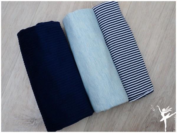Stoffpaket Cord/Strick Blau/Ringel