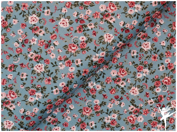 Baumwolle/Popelin Romantic Flowers Hellblau