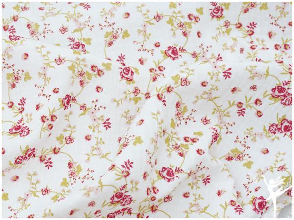 Double Gauze/Musselin Blumen Weiß/Bunt