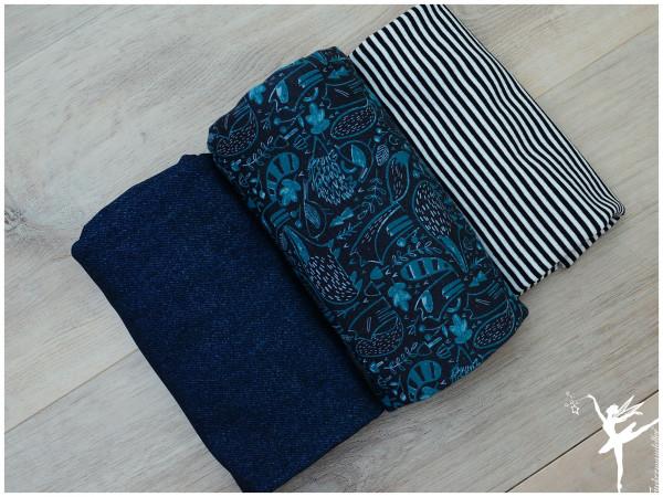 Stoffpaket Jersey/Terry Sweat Woodland Blau/Petrol