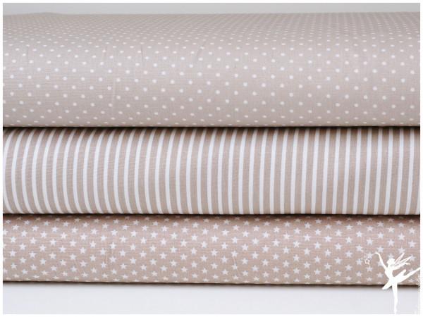 ♥ Stoffpaket 1,5 Meter Beige/Weiß Sterne/Streifen/Punkte Baumwolle ♥