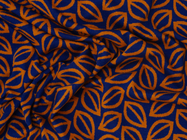 Jacquard Fall Leaves by Lycklig Design Rost/Blau