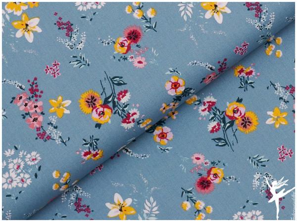 Baumwolle/Webware Blumen Blau