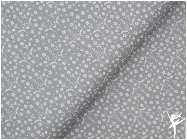 Baumwolle/Webware Grau Zweige/Blumen