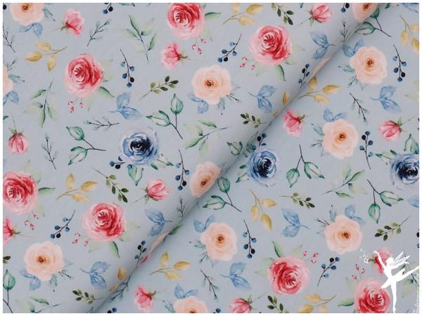 Digital Jersey Blumenmotiv Hellblau