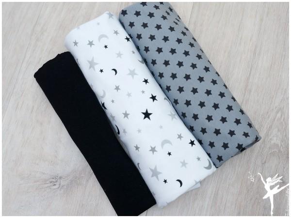 Stoffpaket Jersey Schwarz/Grau/Weiß Sterne/Mond