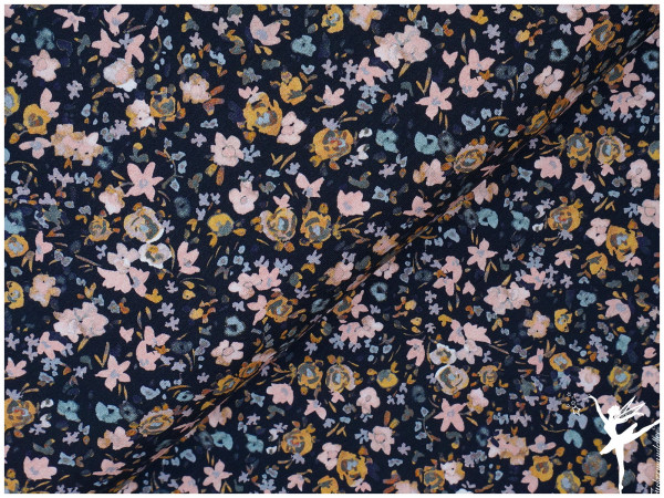 Digital Jersey Aquarell Streublumen Dunkelblau/Rose/Senf