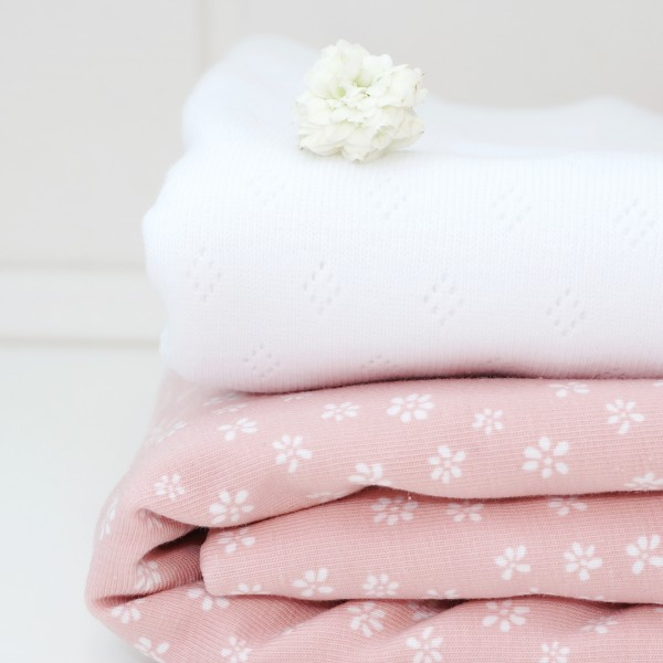 Mini Streublümchen Jersey Nude/Weiß