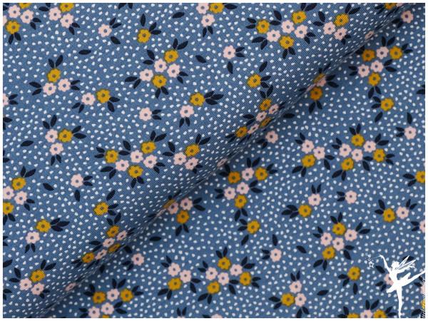 Jersey Blümchen Punkte Blau/Rosa/Senf