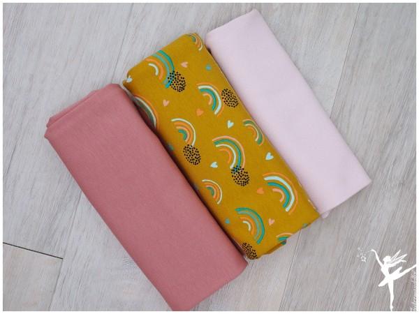 Stoffpaket Jersey Regenbogen Senf/Rosa