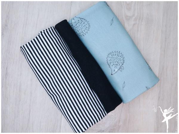 Stoffpaket Sweat/Jersey Igel/Streifen Hellblau/Schwarz/Weiß