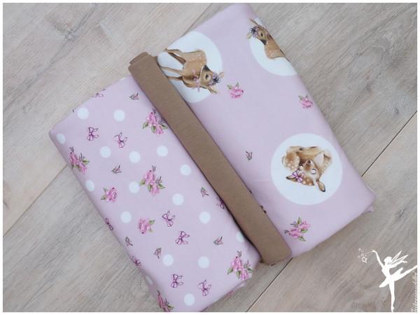 Stoffpaket Sweat Sweet Deers Rosa/Taupe