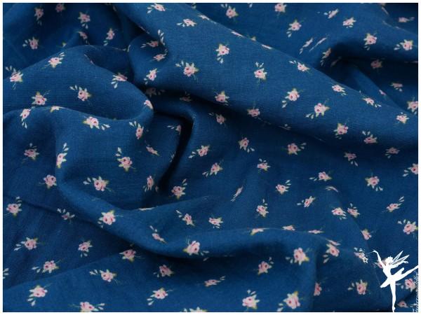Double Gauze/Musselin Streublümchen Blau
