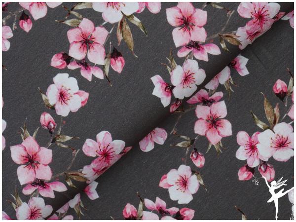 Cherry Blossoms Digital Jersey Grau