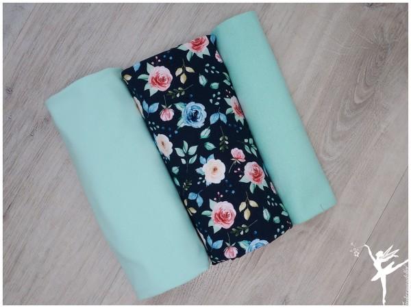 Stoffpaket Jersey Blumen Blau/Mint