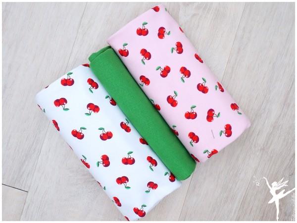 Stoffpaket Jersey Kirschen Rosa/Weiß/Grün